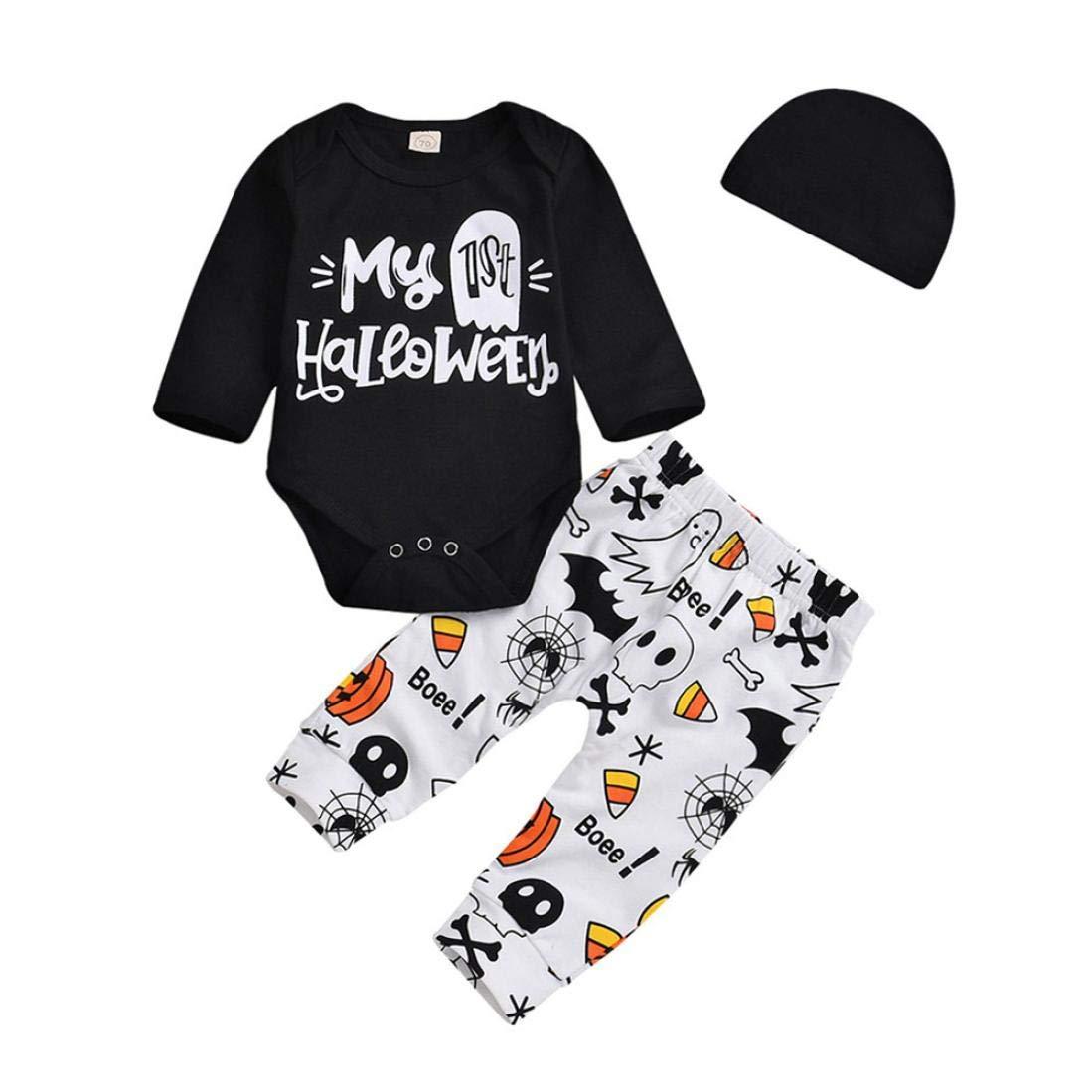 feiXIANG® Neonato Tute + Pantaloni + Cappello, 3pcs Set, Bambina Ragazze Pagliaccetti Stampa di Lettere per Bambini Body Pantaloni Jumpsuit Pagliaccetto Halloween