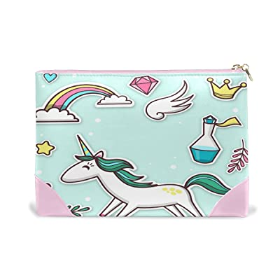Women Makeup Bag Happy Unicorn Genuine Leather Zipper Cosmetics Pouch Lady Toiletry Bag