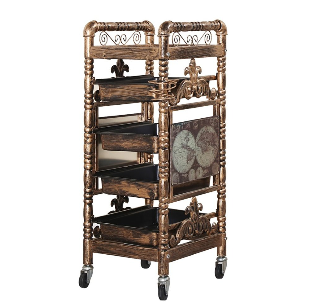 Retro Salon Hairdressing Trolley Hairdresser Barber Beauty Storage Hair Spa Roller Cart Salon Tray with 4 Pullout Golden Drawers wexe.com