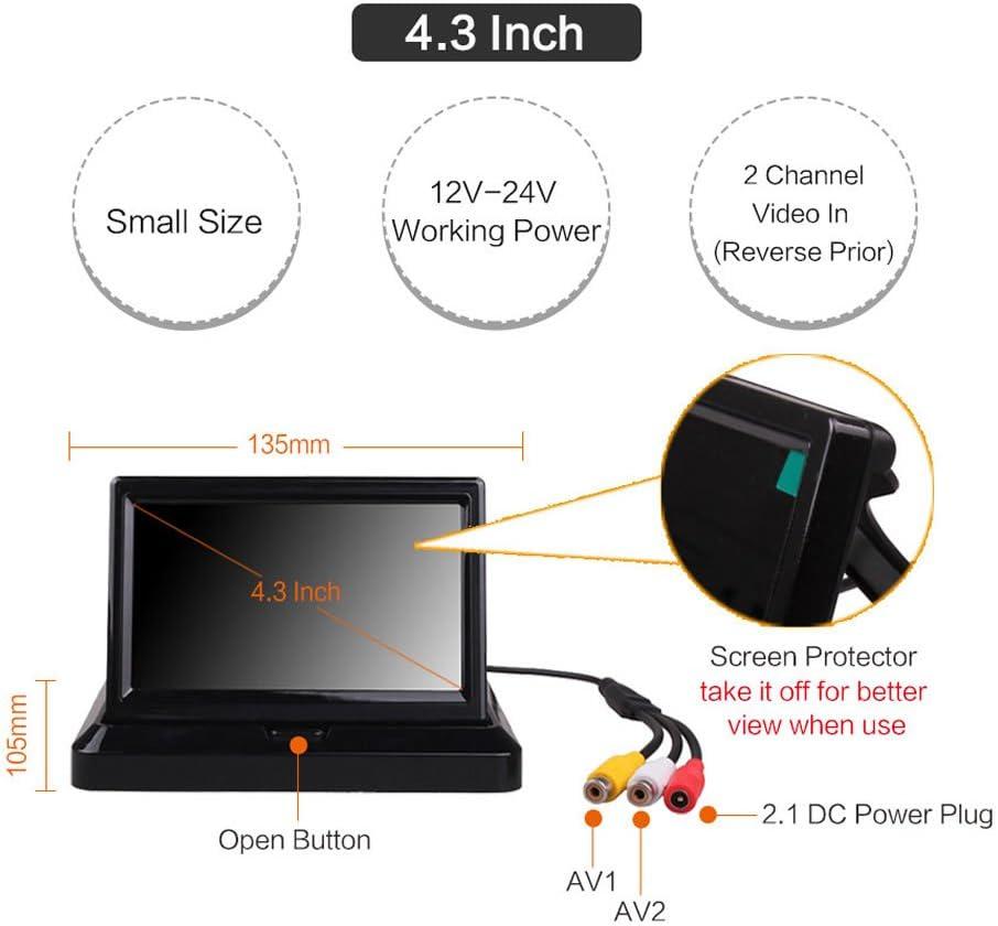 4.3Inch Monitor Car Vehicle Small Mini Color Digital Flip Down Folding Foldable Rear View Reverse Parking Kits Combo HD TFT-LCD Monitor Backup Camera by HitCar