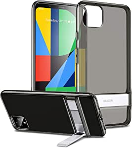 ESR Metal Kickstand Case Compatible with The Pixel 4, [Vertical and Horizontal Stand] [Reinforced Drop Protection] Flexible TPU Soft Back Compatible with The Google Pixel 4(2019), Clear Black