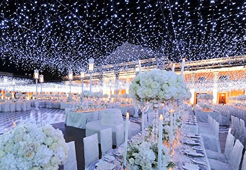 Tesoar Wedding Party Lights Backdrop 9.8 x 9.8FT (3M x 3M) Pure White 300 LED Fairy Curtain String Lights Decoration for Wedding Party Shows Christmas 110V