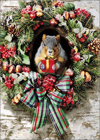 (Squirrel With Gift Stand Out - Avanti Pop Up Christmas Card)