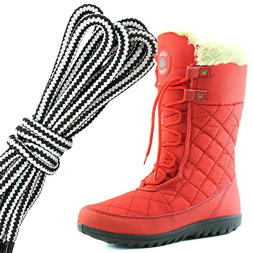 DailyShoes Womens Comfort Round Toe Mid Calf Flat Ankle High Eskimo Winter Fur Snow Boots, White Red