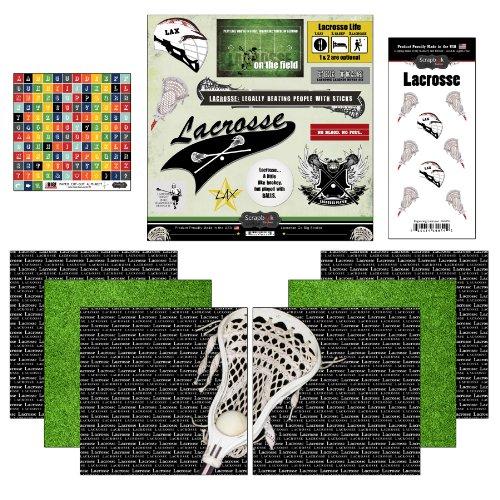 Scrapbook Customs Go Big Lacrosse Themed Paper and Stickers Scrapbook Kit