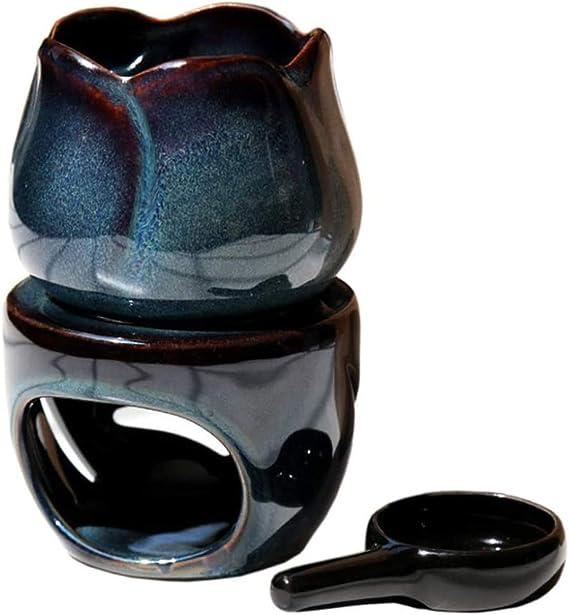ホーム寝室のインテリアバーナーアロマバーナーセラミックオイルキャンドルワックス溶融バーナー精油バーナーディフューザーワックス x (Color : A)