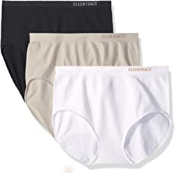 ELLEN TRACY Womens Full Brief Seamless Logo Panties, ...