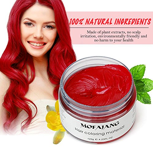 Mofajang Washable Temporary Hair Color Creme, Natural Hairstyle Color Pomade, Instant Hair Wax Dye Styling Cream Mud, Hair Pomades for Party, Cosplay, Nightclub, Masquerade, Halloween (Red) -