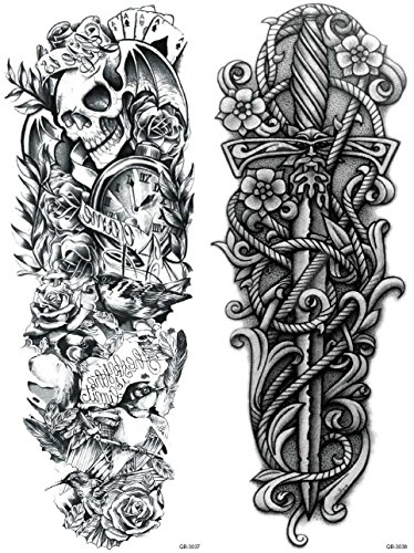 Nutrition Bizz Extra Large Temporary Tattoos Full Half Arm Tattoo Sleeves 20 Sheets for Men Women Teen Fake Tattoo Biker Tattoo Waterproof Stickers for Arms Shoulders Chest & Back by NutritionBizz (Image #6)