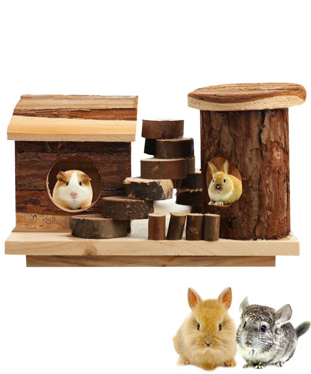 Hkim Wooden Hamster House, Deluxe Wooden Gerbils Hideout Home Hut Play Chews Toys for Small Pet Animal/Dwarf Mice/Hedgehogs