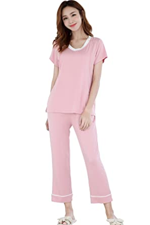 2d78236f52d92 Epinmammy Maternity/& Nursing Pajamas for Womens Long Sleeve Sleepwear Soft PJ  Set with Pants