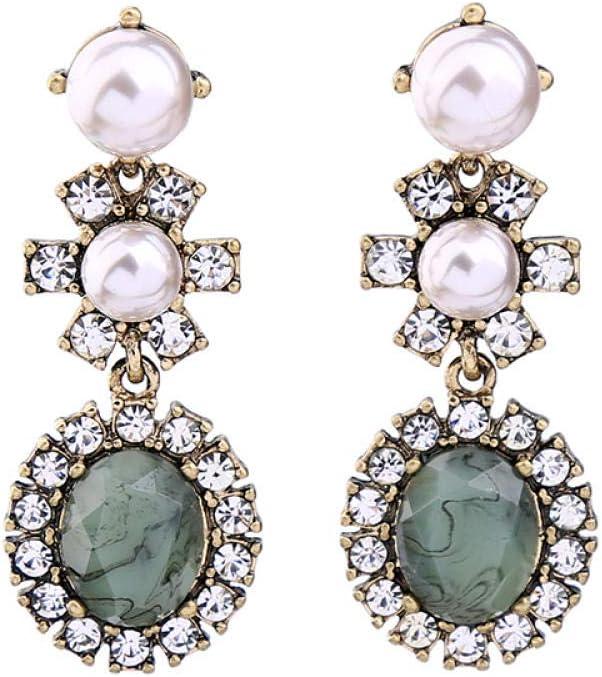 Erin Earring Pendientes De Gota De Imitación De Piedras Preciosas De Patrón De Cristal De Imitación De Perlas De Moda para Mujer Pendientes De Bisutería
