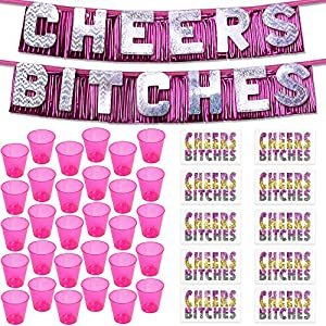 Bachelorette Party Decorations Kit - 1 Silver Cheers Bitches Banner, 10 Bachelorette Tattoos & 30 Mini Pink Shot Glasses