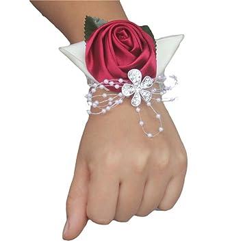 313fbc45a42d fouriding hecho a mano muñeca Corsage Pulsera rosas boda novia mujer niña  dama romántico flores de