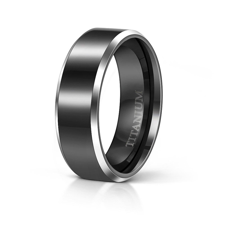 TIGRADE Black Titanium Rings Wedding Bands Comfort Fit Flat Two Silver Tone for Men Women