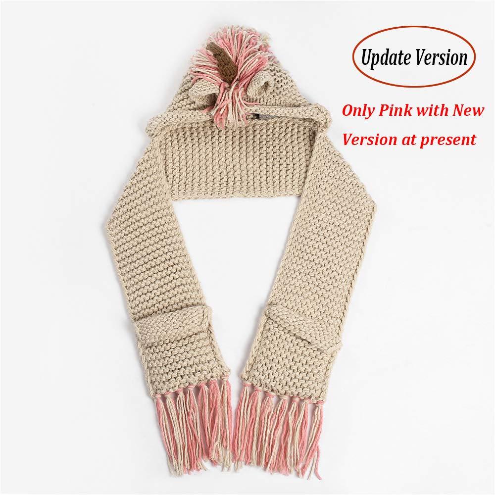 2c85952f031f Amazon.com  Echolife Winter Kids Crochet Knit Unicorn Hood Hat Scarf ...