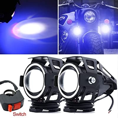 Motorcycle Headlight,U7 LED Spotlight Fog Lights DRL Auxiliary Driving Lights Blue Halo Ring Hi/Low Beam Strobe With Switch: Automotive