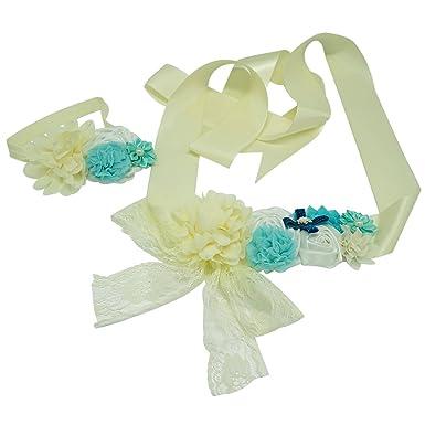 Cheerun Maternity Sash Flower Belt Baby Shower Dress Accessories  Cream Coloured
