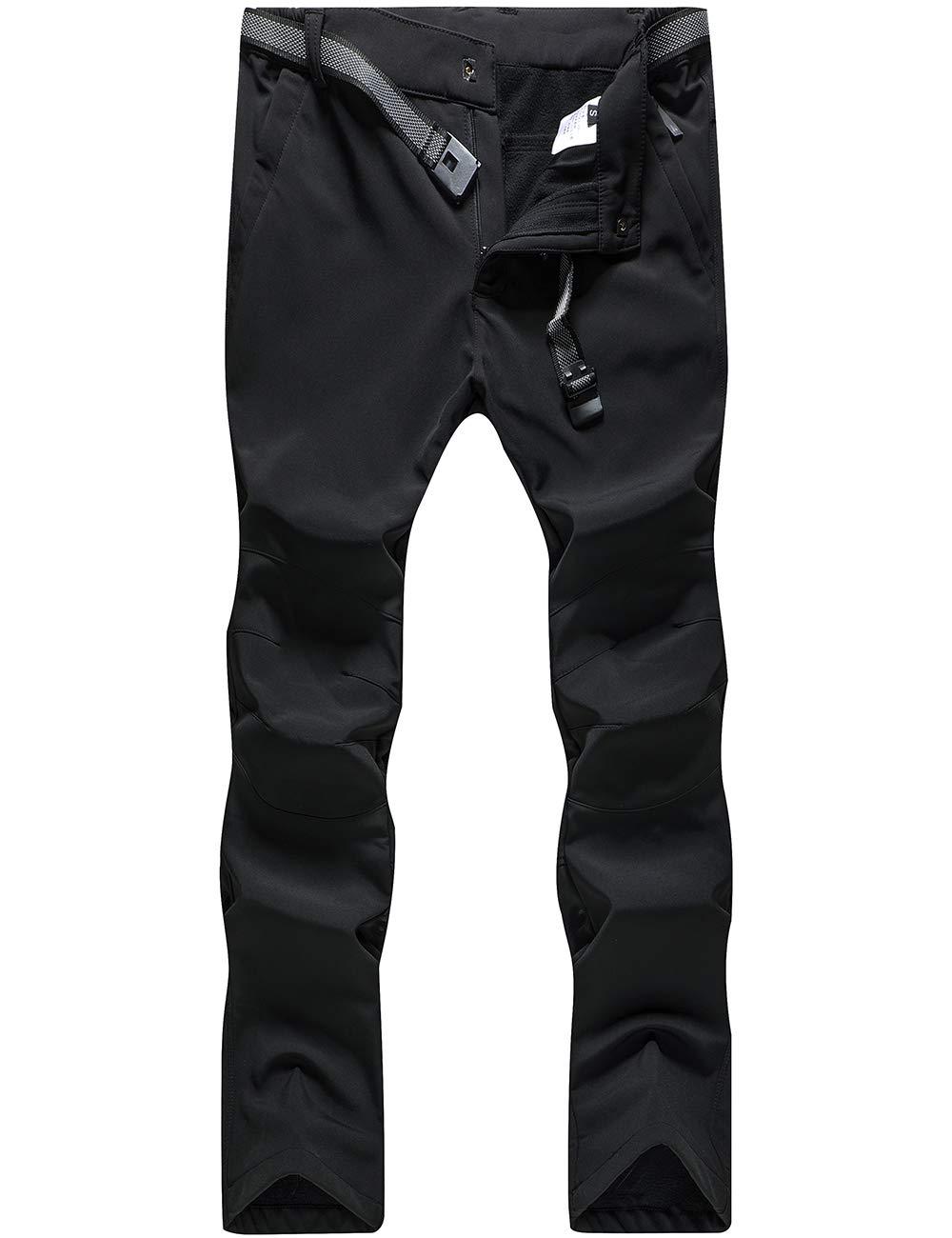 BenBoy Women's Outdoor Waterproof Windproof Fleece Slim Cargo Snow Ski Hiking Pants (Black2, M) by BenBoy