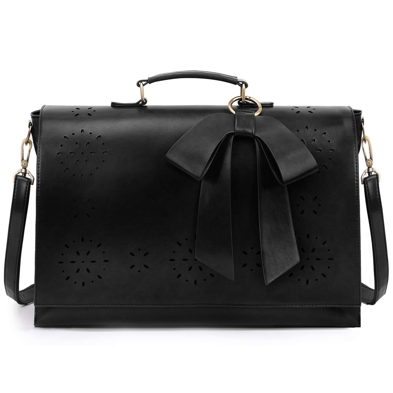 ECOSUSI Women's Briefcase PU Leather 15.6 inch Laptop Bag Shoulder Computer Satchel Bag with Detachable Bow, Black