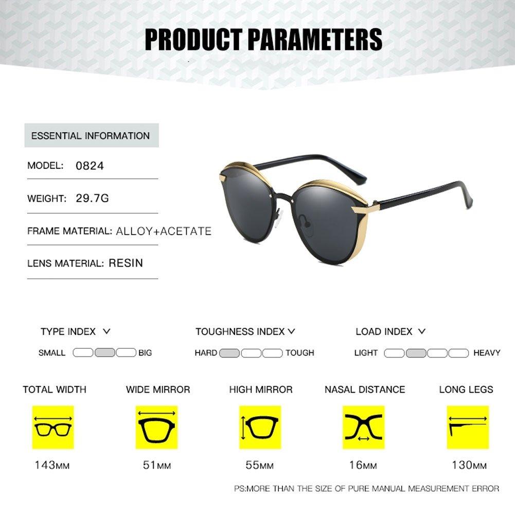 Fashion Polarized Sunglasses for Women Cat Eye Style Mirrored UV400 Protection (black)