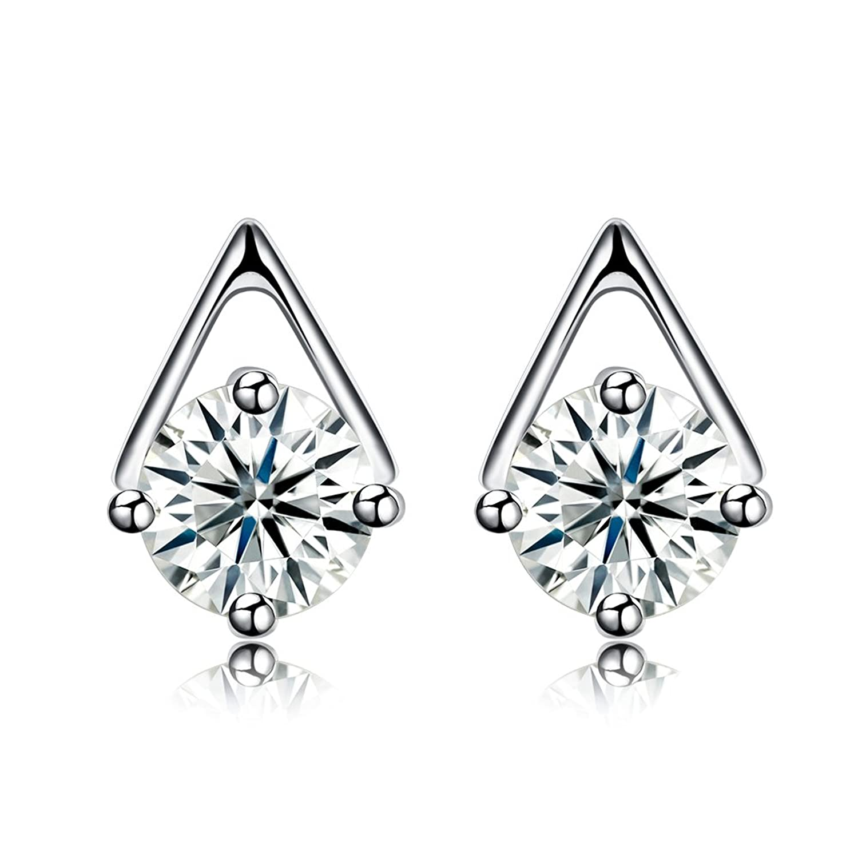 YAZILIND 925 esterlina joyería de plata moda triángulo forma hueca ronda cubic zirconia pendientes para mujeres niñas