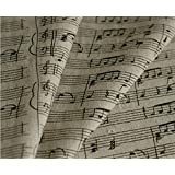 Music Note Linen Cotton Fabric Print By the Yard (2 yards)