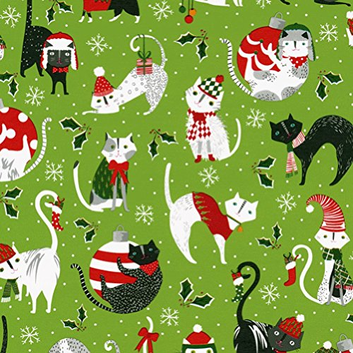 Entertaining with Caspari 9704RC Yule Cats Continuous Roll of Gift Wrapping Paper, 8', 1-Roll, Multicolored