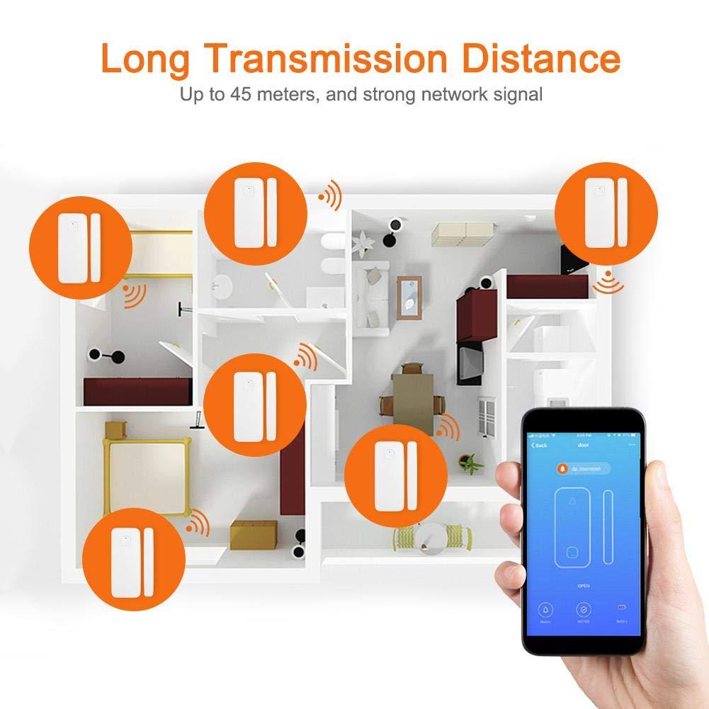 Control Remoto inal/ámbrico de WiFi Inteligente con Sensor de Alarma antirrobo para Seguridad del hogar Lazmin Campana de Alarma de Puerta de Ventana