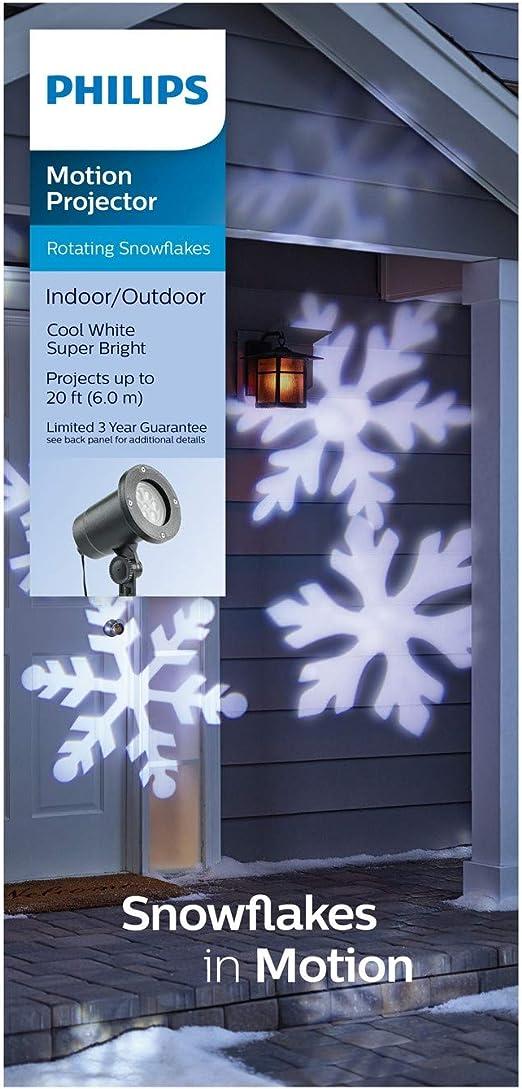 Amazon.com: Proyector de luz LED de copos de nieve blancos ...