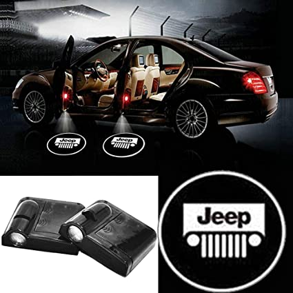 2pc Wireless Drill Free Easy Install Car Door LED Projector Courtesy  Welcome Logo Ghost Shadow Light Magnet Sensor for JEEP GMC Toyota Punisher  all