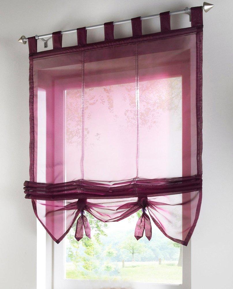 1pcs Liftable Roman Shades Tap Top Rod Pocket LivebyCare Sheer Balcony Window Curtain Voile Valance Drape Drapery Panels for Home Decor Decorative