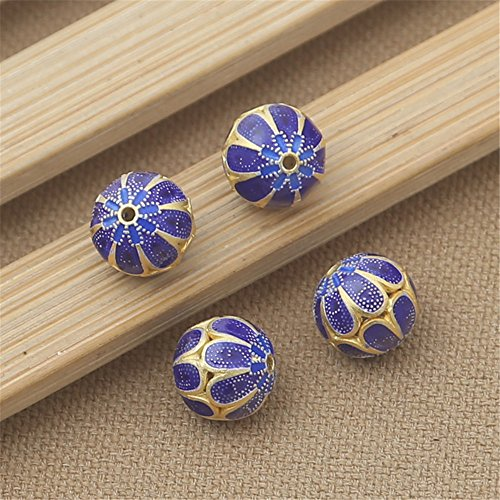 Luoyi 1pc Filigree Golden Plated Sterling Silver Enamel Beads, Violet Cloisonne Spacer Bead, Round, 12mm, Hole: 1mm (T043L)