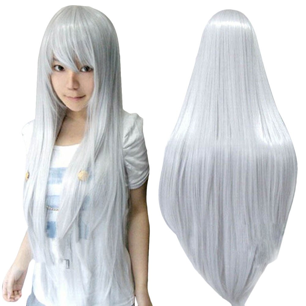 ZyrunaeL Wigs 80cm Long Straight Anime Fashion Women's Cosplay Wig Party Wig (80cm, Silver)