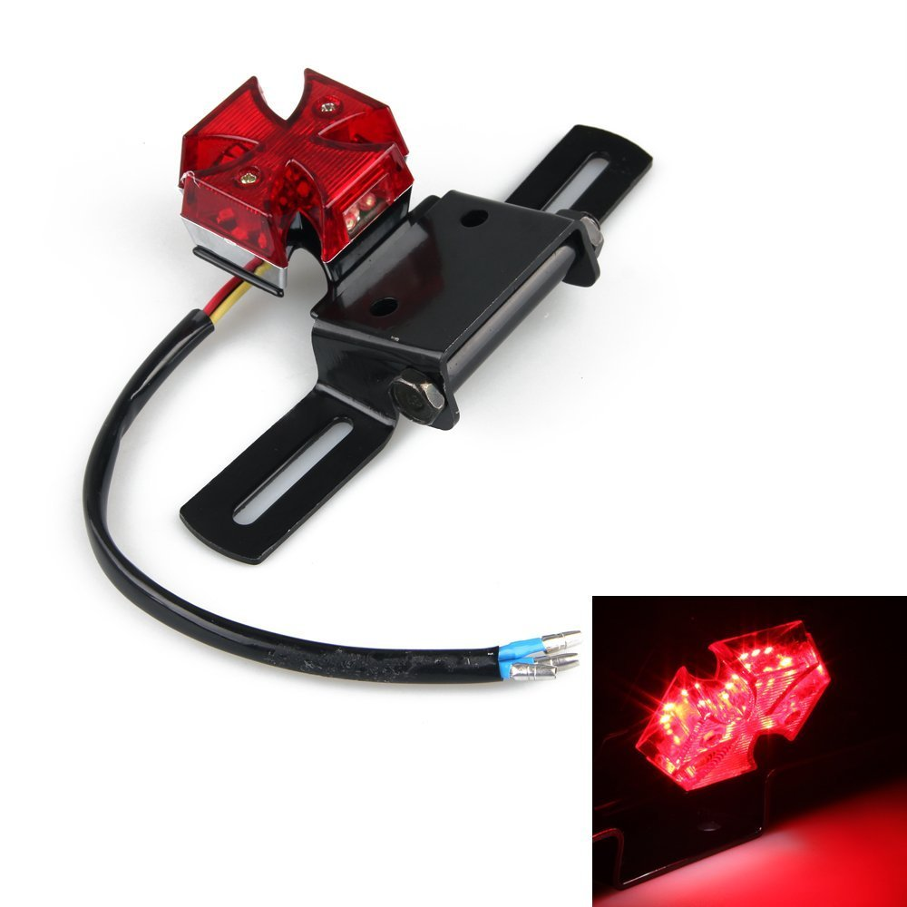 DLLL LED Integrated Red Cross Motorcycle Brake Stop Modified Tail License Plate Running Light for Fit For Suzuki Volusia Marauder Harley Davidson Vespa Kawasaki Yamaha Victory Honda ATV Scooter Quads BMW Ducati