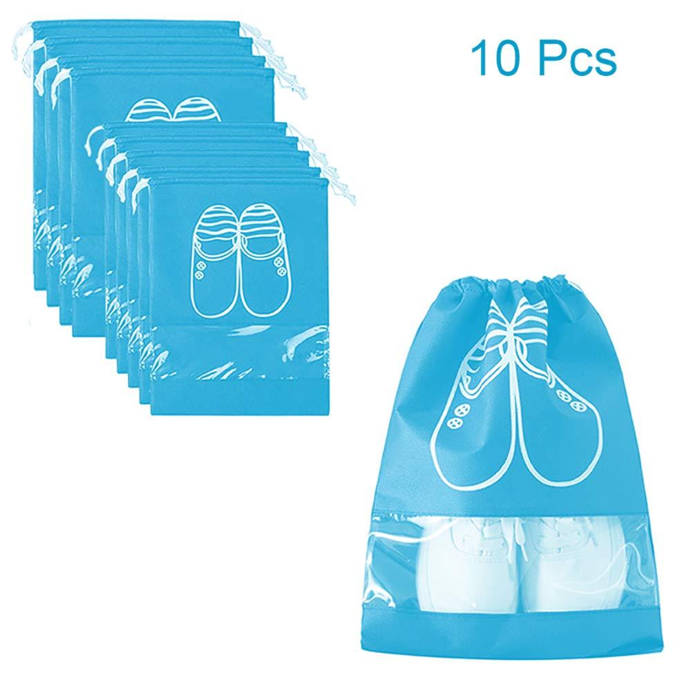 Sacs à Chaussures de Voyage Valise Respirants Organisateurs de Chaussure Portable Anti-poussière avec Fenêtre Transparente 10pcs (Bleu Clair)
