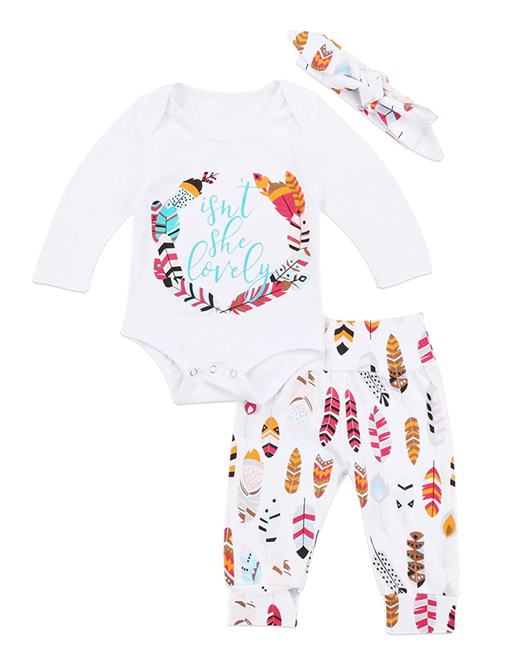 Newborn Baby Girl Letter Print Romper Leaves Pants With Headband 3Pcs Outfit