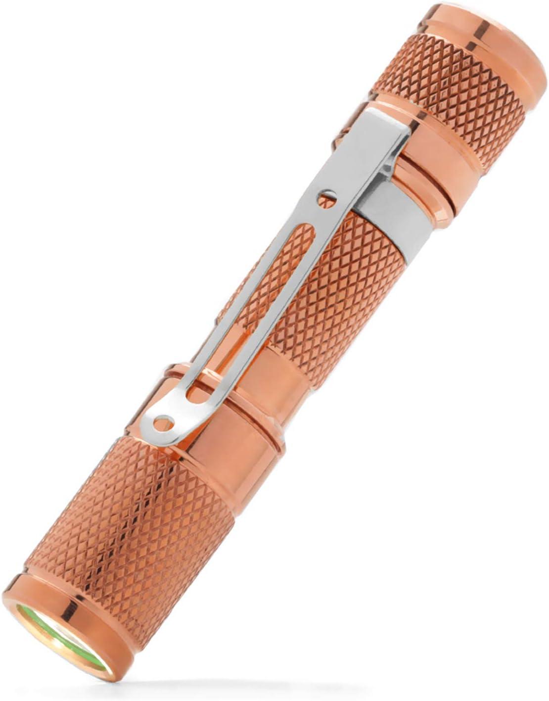 DROP AAA Copper Flashlight — EDC Mini Pocket LED Torch, IPX-8 Waterproof, 3 Modes, 1.5 oz, 110 lumens (Nichia 219C LED) (Drop AAA Copper - Nichia)