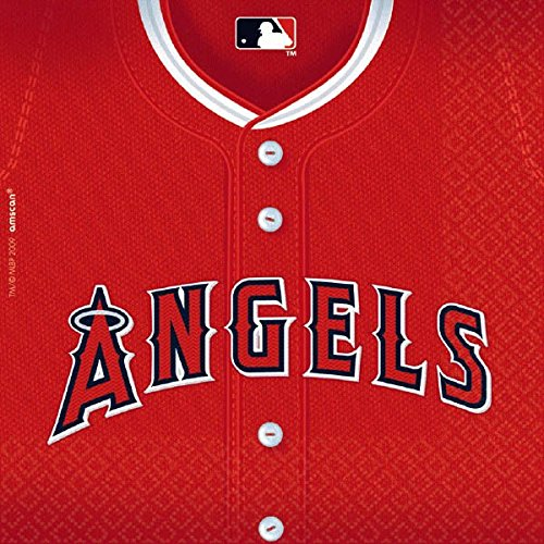 Baseball Luncheon Napkins (Licensed MLB Los Angeles Angels Luncheon Party Napkins Tableware, Paper, 6