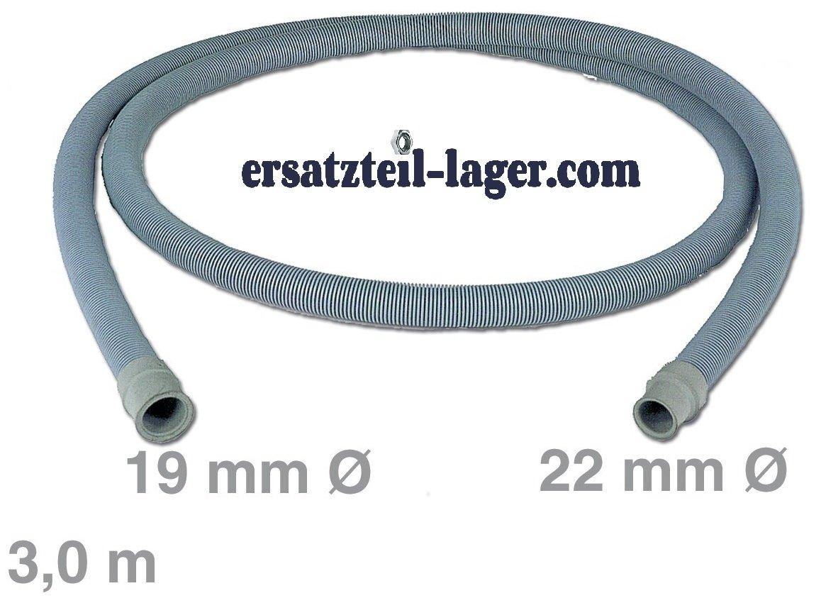 Ablaufschlauch 3, 0m 19/22mmØ Universal Waschmaschine Spülmaschine Europart
