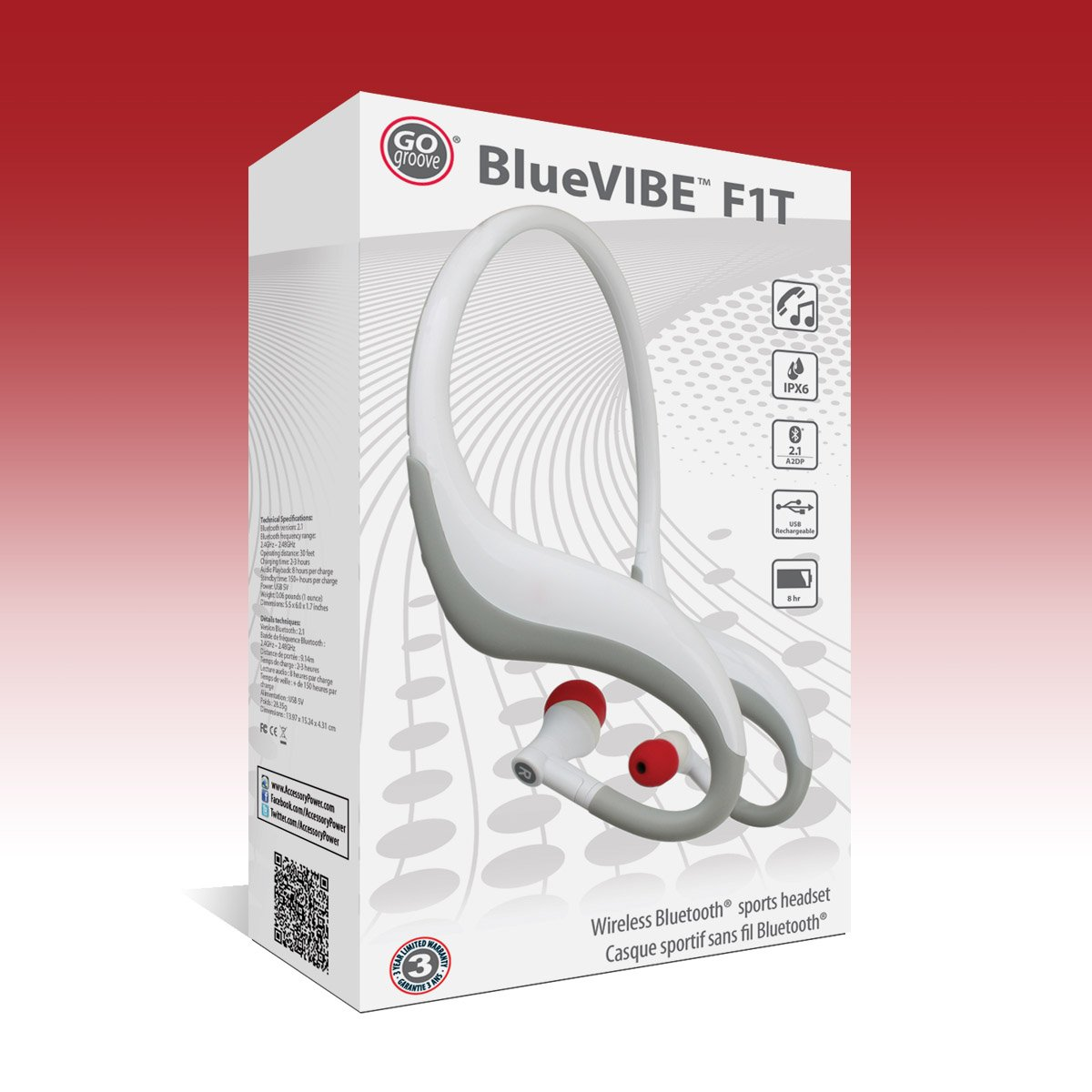 Gogroove BlueVIBE F1T - Auriculares In-Ear Inalámbricos + Bluetooth e Impermeables Para Xiaomi Redmi 3 Pro Moto G4 Plus Motorola Moto G LG Nexus 5X Moto G4 ...