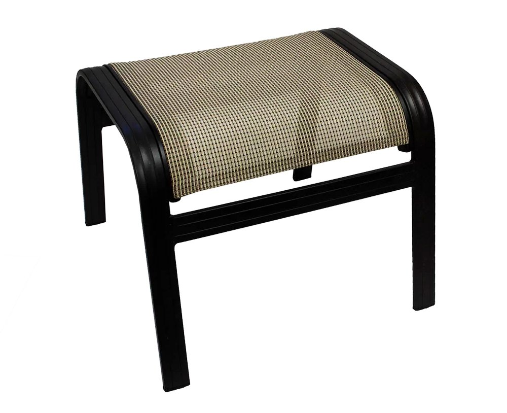 J&M Patio Outdoor Ottoman 17'' H Aluminum Relaxing Footstool in Black & Tan Finish