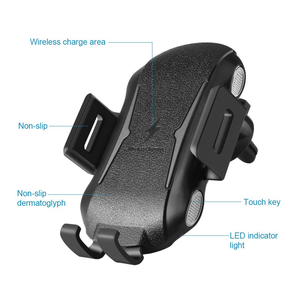 Wireless Car Charger Mount 10W Wireless QC3.0 Charger with Auto-Clamping and Smart Touch Compatible iPhone Xs//Xs Max//XR//X// 8//8 Plus Samsung Galaxy S10 //S10+//S9 //S9+//S8 //S8 and Qi Enabled Devices