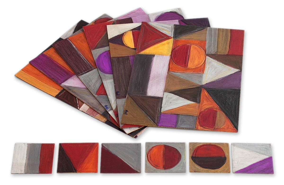 NOVICA Purple and Orange Geometric Wood Placemats and Coasters, 'Symmetrical Dances' (Set of 6)