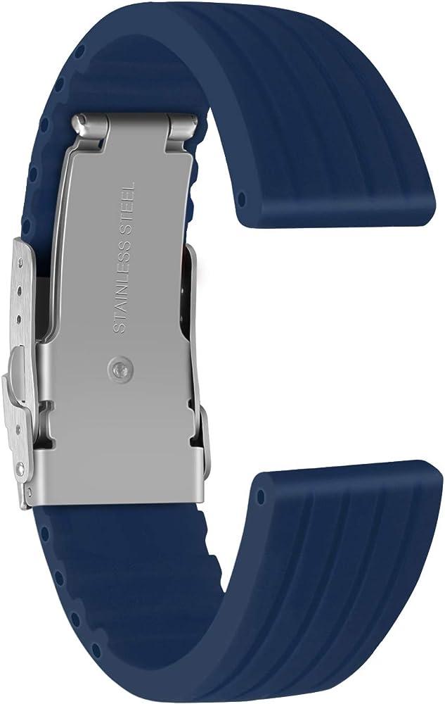 Ullchro Correa Reloj Calidad Alta Recambios Correa Relojes Caucho Stripe Pattern - 16mm, 18mm, 20mm, 22mm, 24mm Silicona Correa Reloj con Acero Inoxidable Hebilla desplegable (16mm, Azul): Amazon.es: Relojes