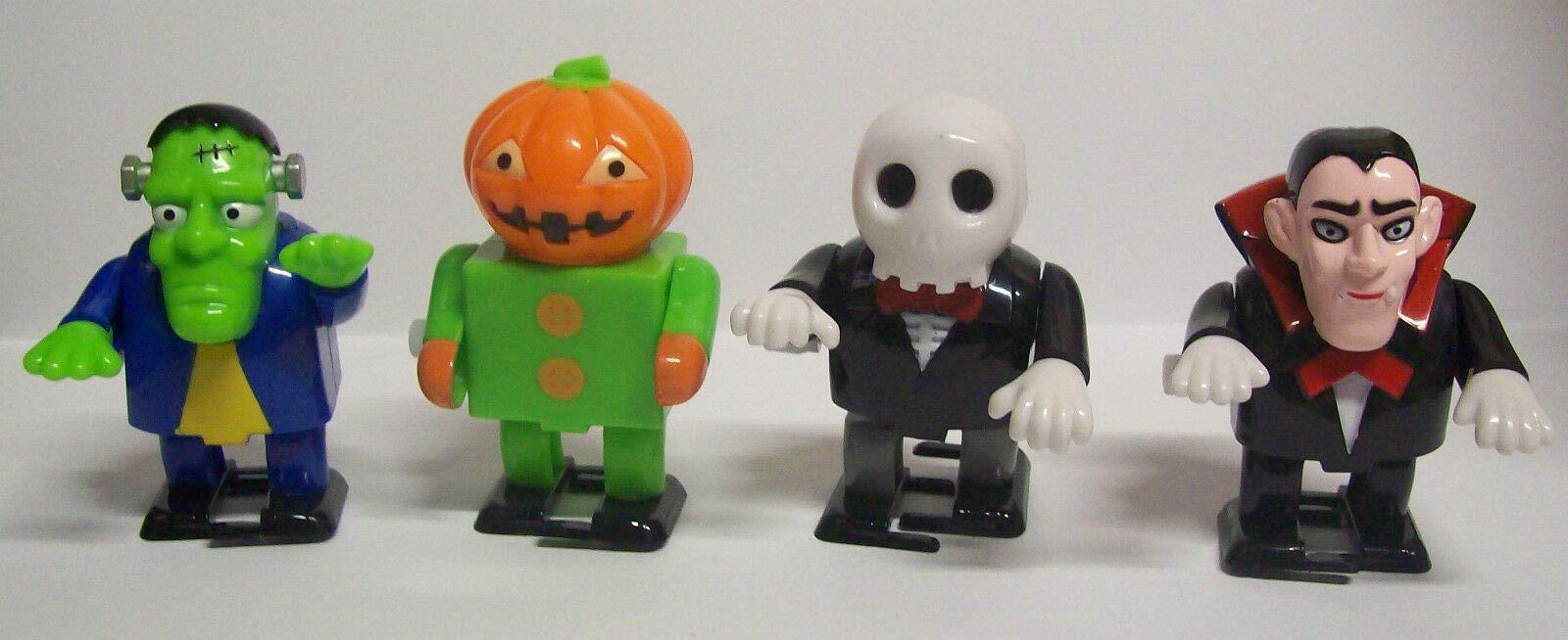 Baga Goodies Set of 4 Windup Walking Halloween Pumpkin Skeleton Frankenstein Dracula Collectible Classic Toys by Baga Goodies
