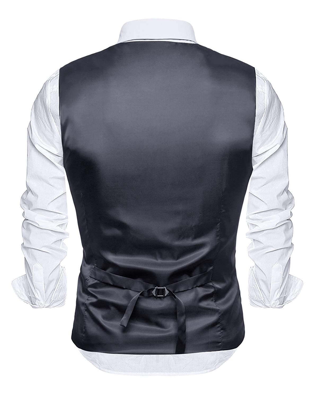 YCUEUST Chaleco Hombre Boda V-Cuello Traje Negocios con Botones Blazers Slim Fit
