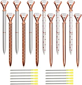 12pcs Diamond Ballpoint Pens with Bonus 12pcs Ballpoint Pen Refills and 1pc Pen Bag, Big Crystal Rose Gold Pen,Bling Pens Make Beautiful Gifts for Women,Kids,Girls,Co-Workers and Teachers