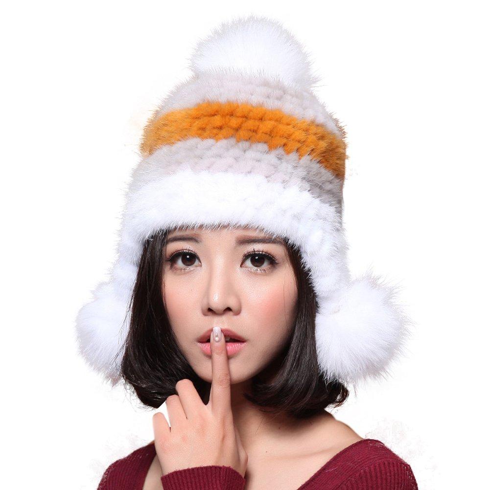MINGXINTECH real marten fur weave hat for hadies ear flaps winter skiing trapper hat