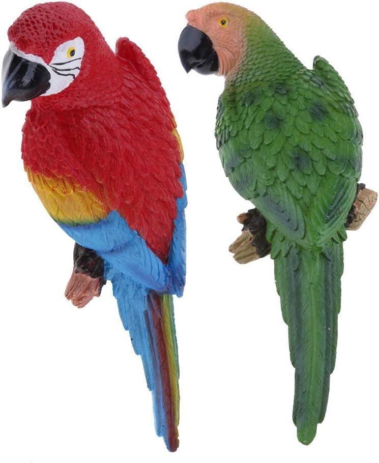 FLAMEER 2 Piezas 31cm Loros Decorativos Pájaros de Resina y Plumas Artificiales para Decoración del Hogar o Plantas de Jardín